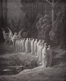 Illustration for Purgatorio by Dante Alighieri Canto XXIX lines 80 to 82 by Gustave Dore 1832-1883 French artist and illustrator