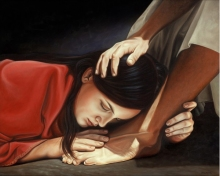 Jesus and a sinful woman forgiven