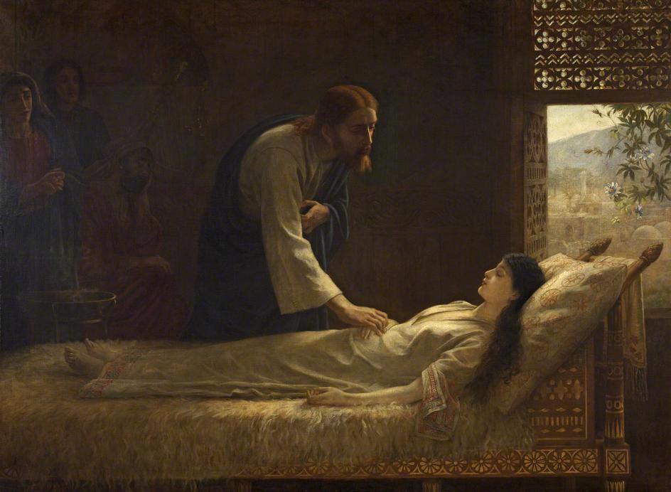 Едуин Лонг (1829-1891). Възкресяването на дъщерята на Иаир, 1889.